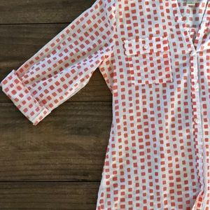 LOFT Pink and White V-Neck Button Up Blouse